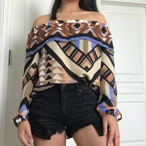 NEW H&M Tribal Off the Shoulder-Shirt